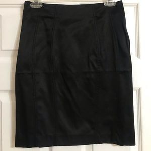 Black shine back zipper skirt